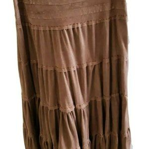 Papaya Prairie Skirt Faux Suede Medium  Line Circu